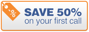 Save 50% on your first call